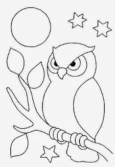 Farm Animal Coloring Pages For Preschool Art Drawings For Kids, Bird Drawings, Easy Drawings, Animal Drawings, Drawing Ideas, Owl Patterns, Applique Patterns, Quilt Patterns, Owl Coloring Pages