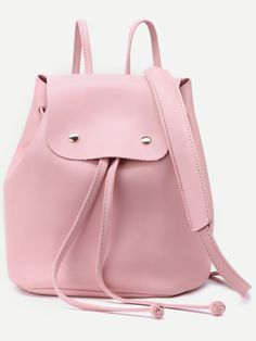 #AdoreWe #SheIn Bags - SheIn Pink Faux Leather Drawstring Flap Backpack With Clutch - AdoreWe.com