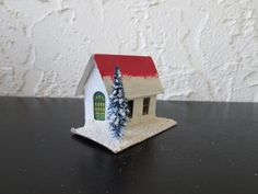 White and Red Putz Cardboard House with Bottle Brush Tree Mica Glitter Japan AtomicPutz.com