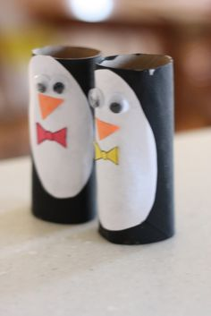 Penguin theme again.  Made from toilet paper rolls!