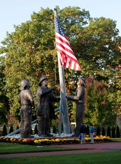 """Memorial, """"To Lift a Nation"""" at the Fallen Firefighters Memorial in Emmitsburg, MD Memorial Park, Life Size Statues, Patriots Day, Famous Photos, Lost Soul, One Back, We Remember, Fire Department"""