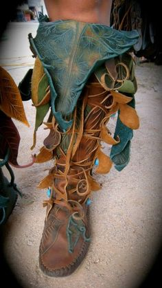 Elf green and brown clothes. Forest wood elf. Faery boots.