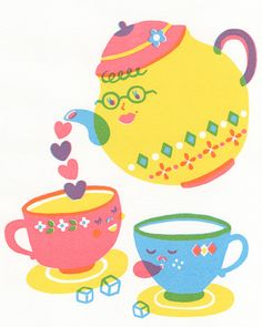Mom and baby teapot and teacups - Sue Jean Ko