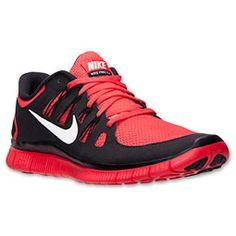 Men's Nike Free 5.0 Premium Running Shoes| FinishLine.com | Light Crimson/White/Black