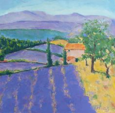 LAVENDER FIELDS FRANCE,  Original Oil, Painting, purple hills,  french lavender, art, artwork, wall hanging, french, purple, tuscan, italy, france, trees, landscape, oil