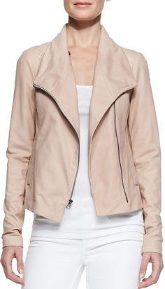 efd29e7a8db Leather Scuba Shawl-Collar Jacket