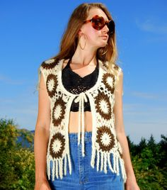 70's Vintage Crochet Vest White  Brown Floral by SurfandtheCity, $69.00