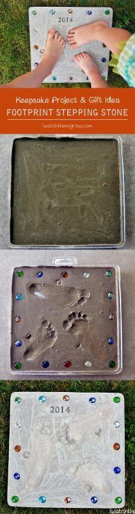 This DIY footprint stepping stone is a perfect keepsake for the garden! Makes a really cute gift for grandparents and Mother's Day or Father's Day! gift to make Footprint Stepping Stone Baby Crafts, Crafts To Do, Crafts For Kids, Cool Fathers Day Gifts, Fathers Day Crafts, Diy Christmas Gifts, Holiday Crafts, Kids Christmas, Projects For Kids