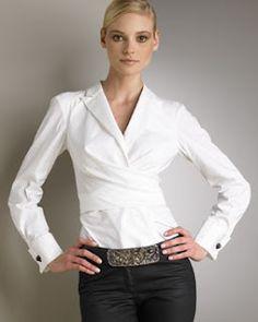 White shirt by Donna Karan. Evergreen