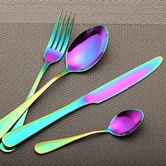 LEKOCH Colorful Rainbow Stainless Steel Flatware Set Including Steak Fork Spoons Knife Tableware -- Discover more by visiting the image web link. (This is an affiliate link). Black Cutlery, Flatware Set, Black Dinnerware, Dinnerware Sets, Copper Moscow Mule Mugs, Stainless Steel Cutlery, Forks And Spoons, Steak Knives, Natural Home Decor
