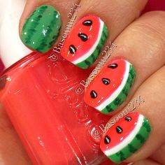 watermelon by   basoom234  #nail #nails #nailart