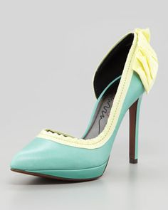 Grosgrain-Trimmed d\'Orsay Pump by Lanvin... I'm so in love with this #buttercream and icy teal colour combo