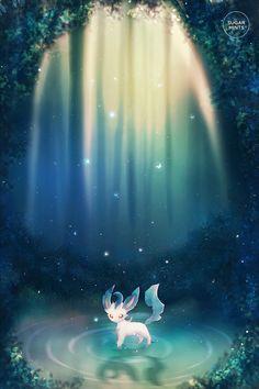 Pokemon Leafeon Poster mit meiner eigenen Illustration. In Photoshop Digital…