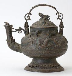 Large Malay Brunei Ritual Bronze Kettle with Animal Motifs, c. Leiden, National Museum, Asian Art, Metal Working, Tea Pots, Creatures, Bronze, Animals, Teapot