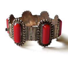 Vintage Mexican Sterling Silver Bracelet with Red by marybethhale, $140.00
