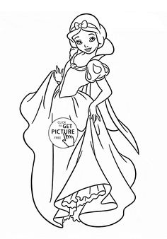 Disney Princess Snow White coloring page for kids, disney princess coloring pages printables free - Wuppsy.com
