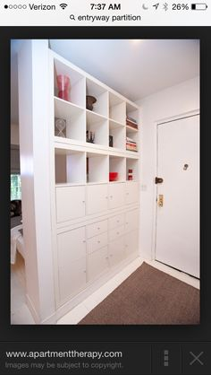 Replace spindles with shelves, but probably glass shelves. Paint wood white
