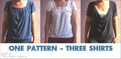 Sewing The Littleheart Collection: One Pattern - Three Shirts - links to tutorials for all 3 shirts, plus sleeve options and instructions for drafting your own pattern or PDF for size medium.