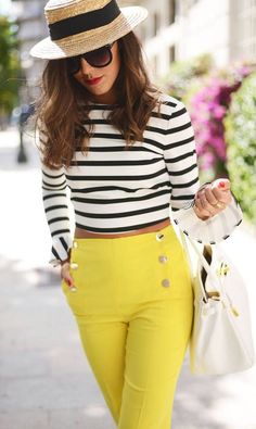 #street #style Striped crop top with yellow high wasted pants @wachabuy