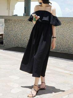 Black, Off Shoulder, Ruffle Skater, Midi Dress