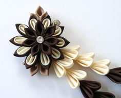 Brown and ivory Kanzashi Fabric Flower hair clip with by JuLVa