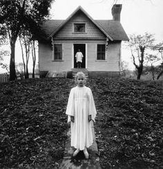 """Girl in a White Dress, 1971 - photo by Arthur Tress  """"Arthur Tress' first subjects were circus freaks and dilapidated buildings around Coney Island where he grew up. The youngest of three children in a divorced family, Arthur spent time in his early life with both of his parents: his father who re-married and lived in an upper class neighbourhood, and his mother, who remained single after the divorce and whose life was not nearly so luxurious. In high school, he also studied the art o"""
