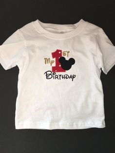 b5b908dc5 Mickey Mouse My 1st Birthday Embroidered T-Shirt Keepsake Personalized