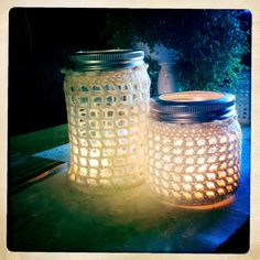 Heklede lyslykter av Norges-glass