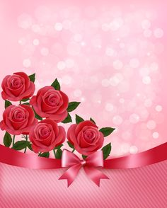 Holiday background with bouquet of pink flowers with bow and ribbon. Vector illustration.