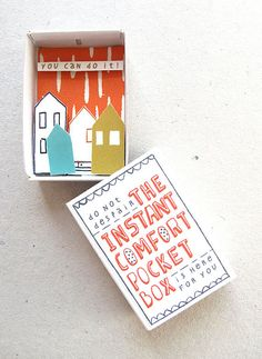 The Instant Comfort Pocket Box    Designed by Kim Welling, for instant motivation, inspiration, and hope.    (via fuckyeahpackagedesign)