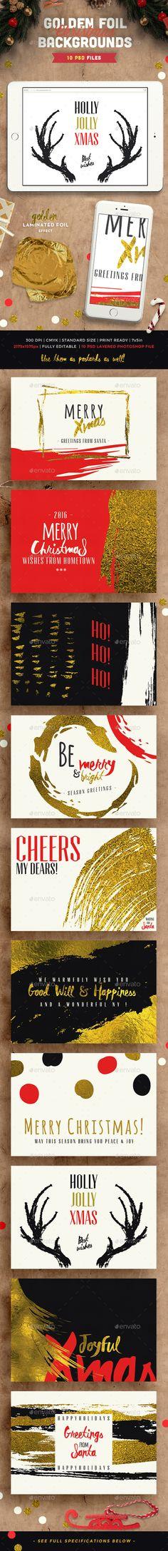 Golden Foil Christmas Backgrounds