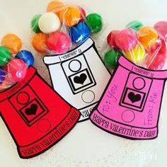 """Gumball Machine Valentines  Show your valentines that you """"chews"""" them this Valentine's Day with these fun gumball machine cards. While assembling the valentines"""