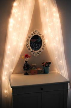 vanity setup ikea vanity with christmas lights decorated in ribbons do this for chest of. Black Bedroom Furniture Sets. Home Design Ideas