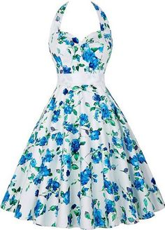 Vintage 50s Style Floral Halter Swing Party Dress