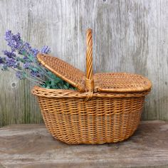 Wicker Picnic Basket with Lid Dutch Vintage Huge on Etsy, $44.00