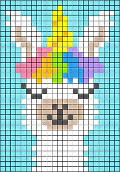 Alpha friendship bracelet pattern added by sodapop. Perler Patterns, Loom Patterns, Beading Patterns, Crochet Patterns, Unicorn Cross Stitch Pattern, Unicorn Pattern, Crochet Wall Hangings, Tapestry Crochet, Tapestry Weaving