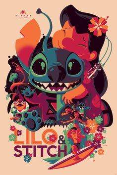 Tom Whalen Lilo and Stitch Print Poster Pixar Disney Mondo Artist Stich Disney Pixar, Disney Amor, Disney E Dreamworks, Art Disney, Disney Kunst, Disney Animation, Disney Magic, Animation Movies, Disney Stitch