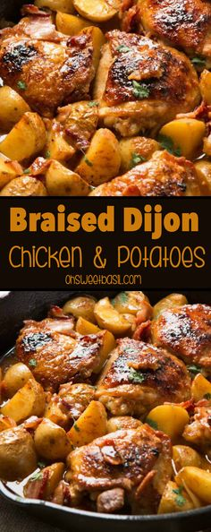 Hands down, our absolute most favorite recipe ever is this juicy, saucy braised dijon chicken and potatoes that's a one skillet wonder! paleo, whole 30 via @ohsweetbasil