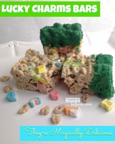 Lucky Charms Bars Recipe- They're Magically Delicious! And perfect for St. Patricks Day celebrations - Mission: to Save Lucky Charms Cereal, Chocolate Almond Bark, Colored Sugar, Creative Desserts, Baked Chips, Paper Straws, Cute Food, Rice Krispies