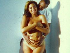 Beyonce posed nude while pregnant as hubby Jay Z hugged her tummy in their touching home videos.