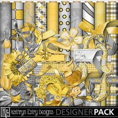 Lovely yellow colours to go with the bright pictures smiling pictures you'll be taking this summer! #KathrynEstry @www.MyMemories.com #DIY #scrapbook #Crate #Ali's Attic Set 1 Combo