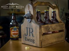 Personalised Wooden Beer Crate / Tote / Gifts for Him / Fathers Day / Best Man  Personalised Wooden Beer Tote With Cast Iron Bottle Opener  New to