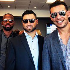 Jose Reyes, Kevin Pillar and Danny Valencia Kevin Pillar, Jose Reyes, Toronto Blue Jays, Blue Bird, Valencia, Eye Candy, Mens Sunglasses, Baseball, Beards