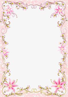 Floral Border Frame Romantic Pink Line Pink Floral Background, Flower Background Wallpaper, Flower Backgrounds, Abstract Backgrounds, Frame Border Design, Page Borders Design, Design Page, Flower Border Png, Floral Border