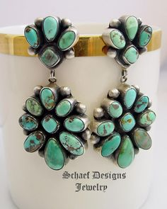 Artist signed Bea Tom Native American Carico Lake Turquoise double cluster post earrings