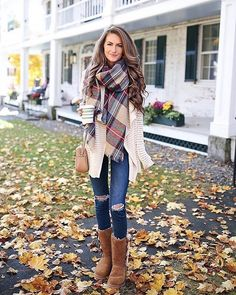 Plush booties, open-front cardi and classic plaid