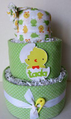 Neutral Baby Shower Diaper Cake Baby Shower by MsCarlasBabyCakes, $48.00