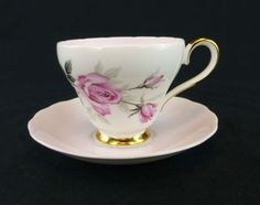 Adderley China Cup and Saucer Set Tea Fine Bone China England Pink Gold Roses | eBay