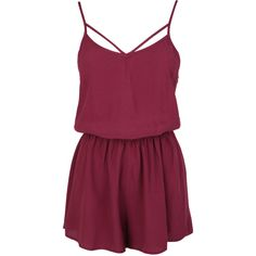 Lupe Multi Cross Detail Playsuit in Burgundy (100 ARS) ❤ liked on Polyvore featuring jumpsuits, rompers, dresses, playsuits, vestidos, jumpsuit, burgundy, strappy jumpsuit, burgundy jumpsuit and jump suit