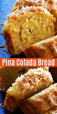 Colada Bread Quick bread recipe with crushed pineapple and toasted coconut that taste like a Pina Colada cocktail. This Pina Colada bread takes you to the tropics without leaving your kitchen Best Bread Recipe, Quick Bread Recipes, Banana Bread Recipes, Baking Recipes, Cake Recipes, Coconut Bread Recipe, Pineapple Banana Bread Recipe, Coconut Banana Bread, Coconut Custard